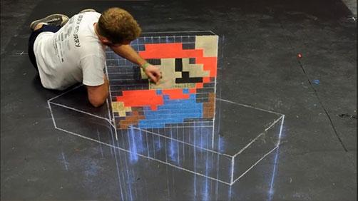 Super Mario Chalk Art Fun